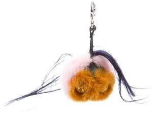 Fendi Mink & Goat Fur Marshmallow Bag Bug Charm