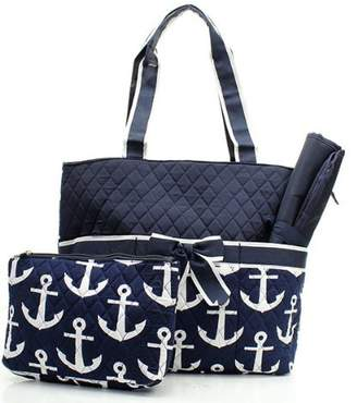 Handbags Nautical Anchor Print Quilted Canvas Diaper Tote Bag