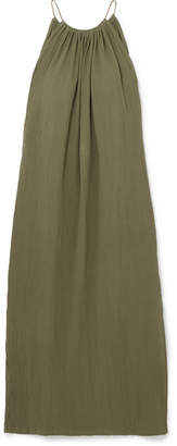 Caravana - Kalam Leather-trimmed Cotton-gauze Maxi Dress - Army green