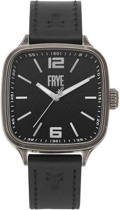 Frye Bowery Square Stainless Steel Case Leather-Strap Watch