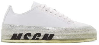 MSGM White Glitter Sole Floating Sneakers