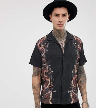 Heart & Dagger placement print shirt in black