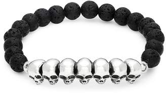 King Baby Studio Women's Skull Sterling Silver Beaded Bracelet - Silver-black