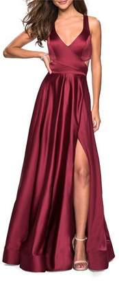 La Femme V-Neck Sleeveless Satin Gown with High Slit & Crisscross Back Straps