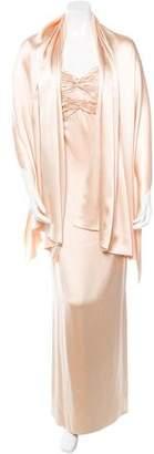 Oscar de la Renta Silk Gown W/ Shawl