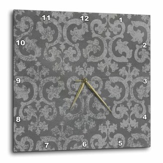 3dRose Grunge dark gray damask - silver grey faded antique vintage swirls wallpaper fancy swirling pattern, Wall Clock, 13 by 13-inch