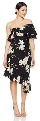 Social Graces Women's One Shoulder Floral Print Ruffle Cocktail Dress 4