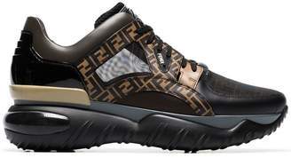 Fendi black and brown Fancy FF logo sneakers