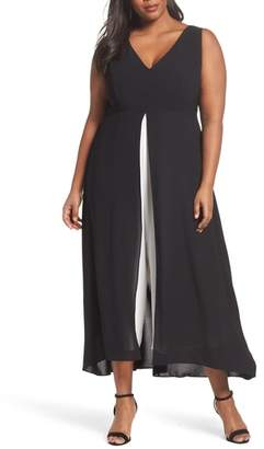 Adrianna Papell Colorblock V-Neck Jumpsuit