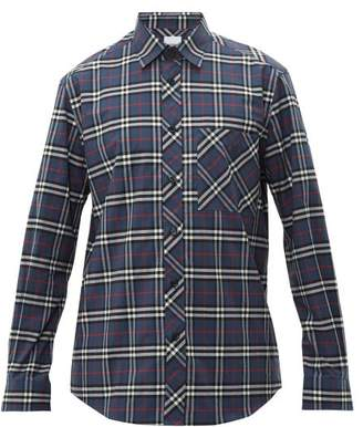 Burberry Monogram Embroidered Checked Cotton Blend Shirt - Mens - Blue