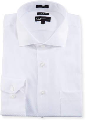 Neiman Marcus Trim-Fit Long Sleeve Dress Shirt, White