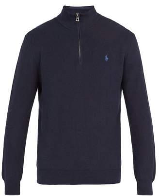 Polo Ralph Lauren Logo Embroidered Half Zip Pima Cotton Sweater - Mens - Navy