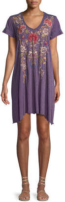 Johnny Was Simona Embroidered Jersey-Blend Tunic Dress