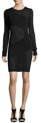 Thierry Mugler Long-Sleeve Mesh-Inset Dress $1,850 thestylecure.com