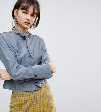 Reclaimed Vintage Inspired Tie Neck Cropped Shirt
