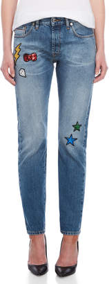 Love Moschino Sequin Patch Blue Jeans