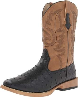 Roper Men's Ostrich Print Square Toe Cowboy Boot 8.5 D - Medium