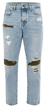 Topman Mens Blue Light Wash Camouflage Patch Tapered Jeans