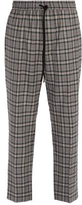 Gucci Mid Rise Check Wool Trousers - Mens - Grey