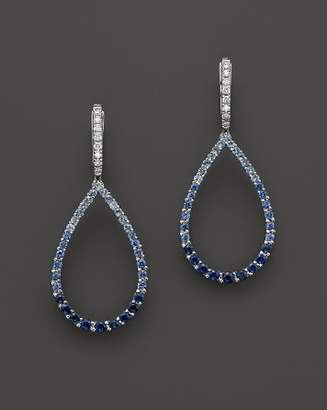Bloomingdale's Sapphire and Diamond Ombré Teardrop Earrings in 14K White Gold - 100% Exclusive