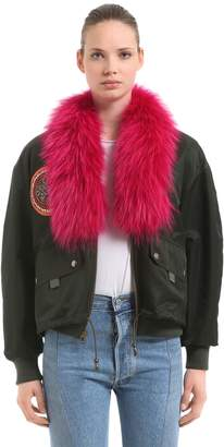 Mr & Mrs Italy Mr&mrs Italy Oversized Bomber Jacket W/ Fur & Patches
