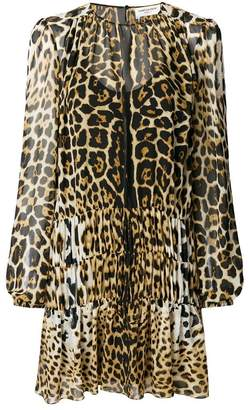 Saint Laurent semi sheer leopard print dress