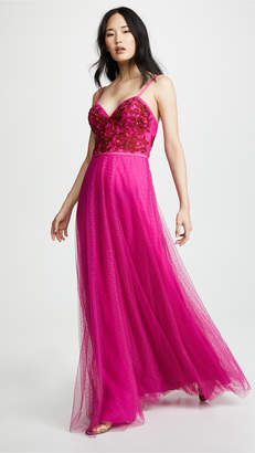 Marchesa Strapless Beaded Embroidered Gown