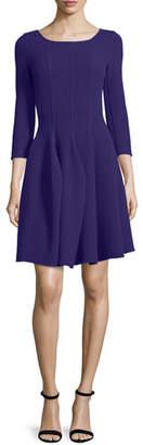 Armani Collezioni 3/4-Sleeve Godet-Pleated Dress, Imperial Purple