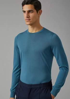 Giorgio Armani Crewneck Sweater In Virgin Wool