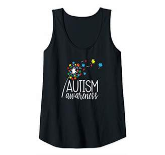 Womens Autism Awareness Cute Puzzle Piece Dandelion Flower Gift Tank Top