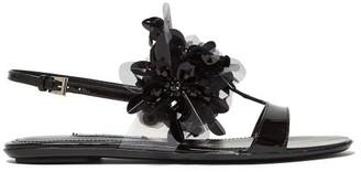 Prada Sequin Embellished Slingback Leather Sandals - Womens - Black