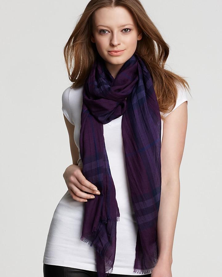 Burberry Giant Check Wool/Silk Gauze Scarf