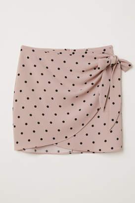 H&M Short Wrap-front Skirt - Pink