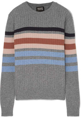 Markus Lupfer Mia Striped Ribbed Merino Wool Sweater - Gray