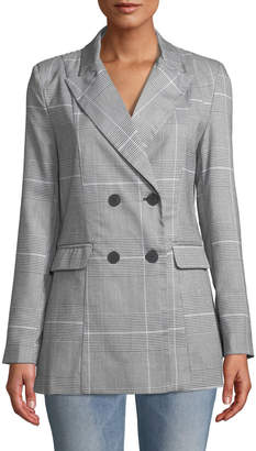 Free Generation Double-Breasted Plaid Blazer