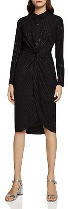 BCBGeneration Metallic Pinstriped Twist-Front Shirt Dress