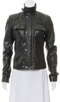 Belstaff Leather Zip-Up Jacket Black Leather Zip-Up Jacket
