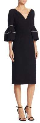 Lela Rose Faux Pearl-Trimmed Bell-Sleeve Dress