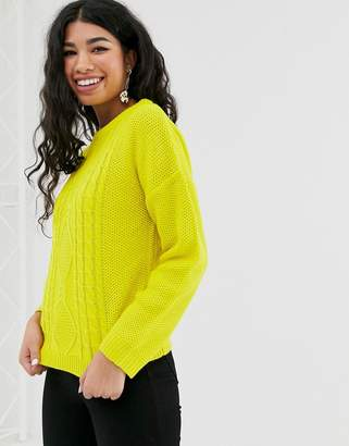 Brave Soul neon cable sweater