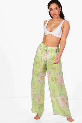 boohoo Beth Neon Citrus Beach Trousers