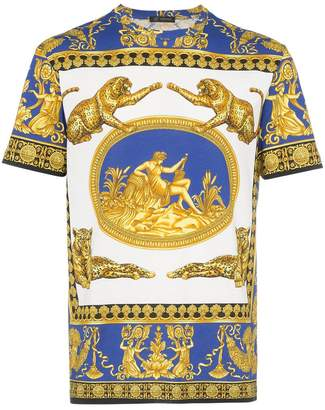 Versace blue and white Medusa print cotton short sleeve t shirt