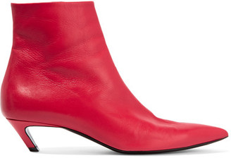Balenciaga - Slash Leather Ankle Boots - Red $825 thestylecure.com