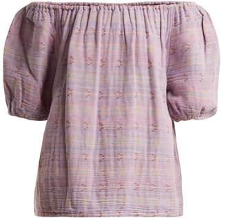Ace&Jig Gelato Off The Shoulder Jacquard Cotton Blend Top - Womens - Purple Multi