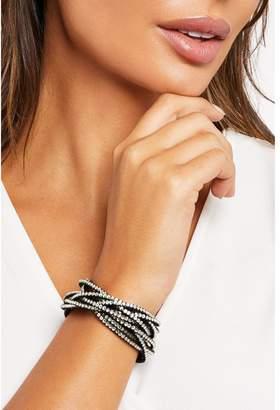 Quiz Black Diamante Twist Bracelet