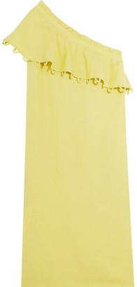 APIECE APART - Reina Ruffled One-shoulder Tencel And Linen-blend Midi Dress - Green $365 thestylecure.com