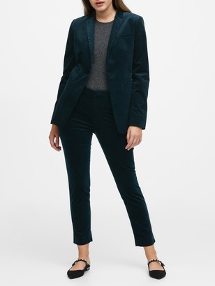Banana Republic Petite Long and Lean-Fit Velvet Blazer