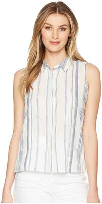 Miss Me Button Down Striped Collar Top Women's Clothing