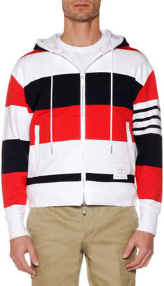 Thom Browne Men's Drop-Shoulder Striped Zip-Up Hoodie