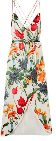 Alice + Olivia Alice Olivia - Susana Wrap-effect Floral-print Devoré-chiffon Midi Dress - Cream