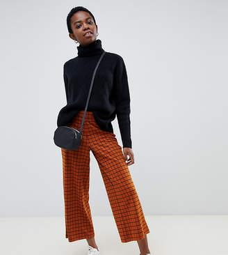 Asos DESIGN Petite wide leg culotte pants in rust check